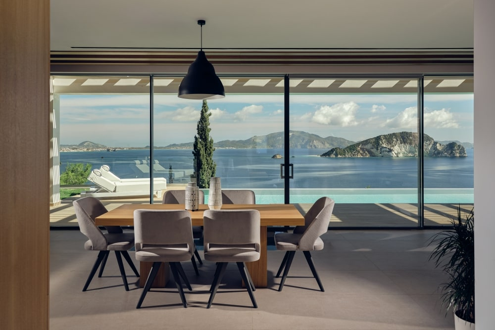 Dining table with view to the sea