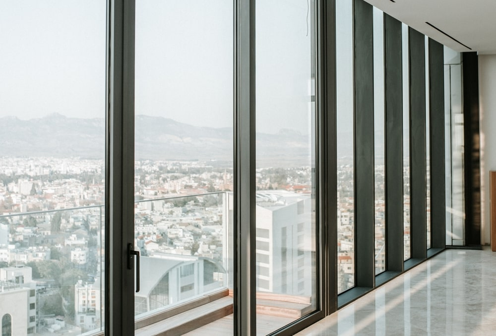 Windows with view to the city
