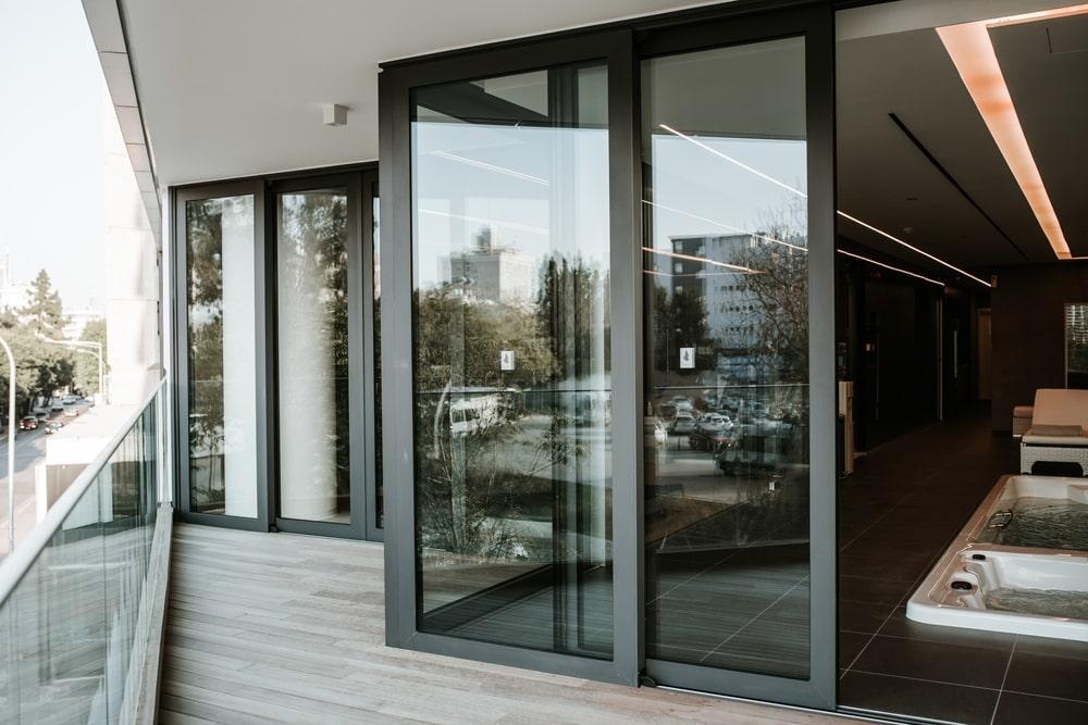 Aluminum windows at angles forming the balcony