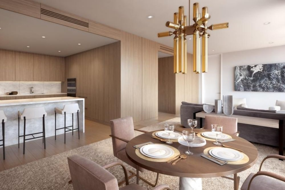 The suite dining area and kitchen