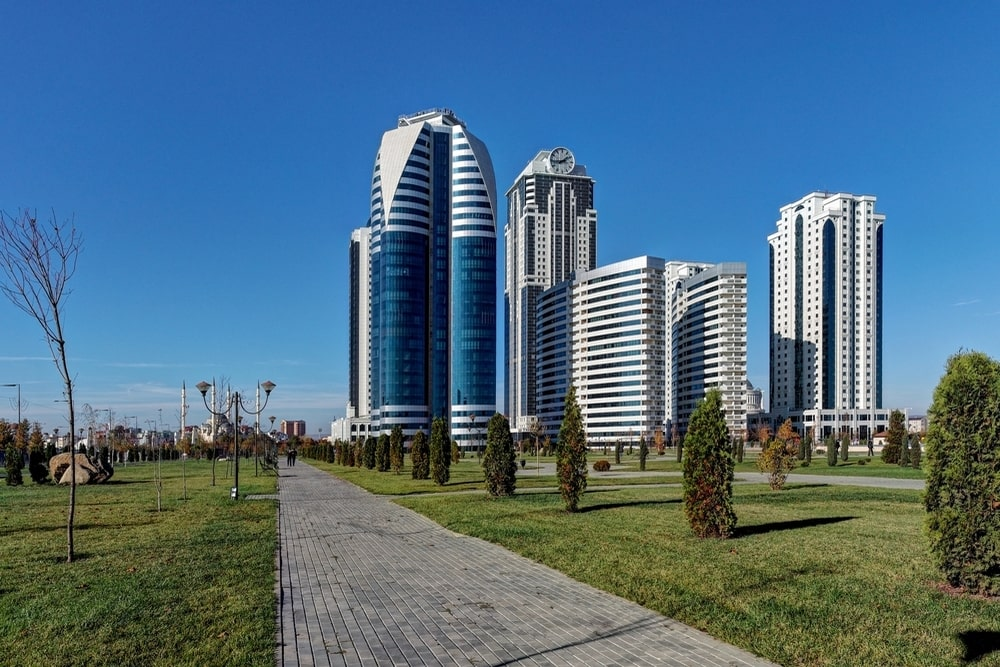 The park next to the buildings