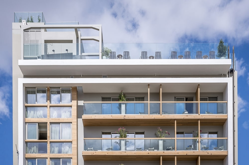 Balconies and roof garden with chairs
