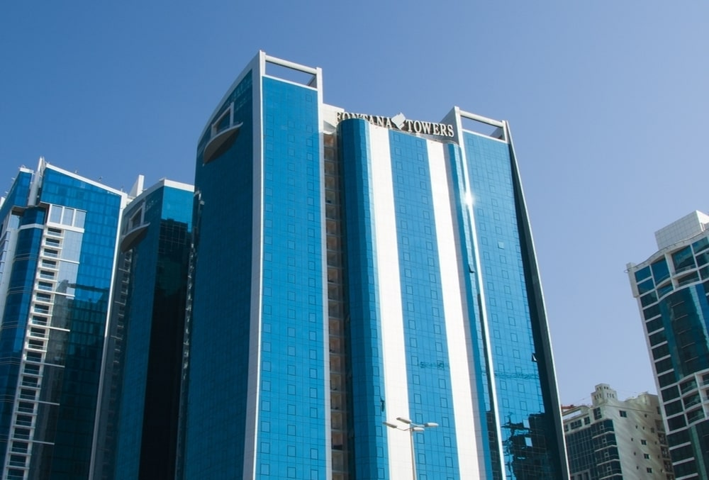 The glass façade of the towers