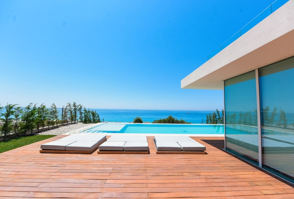 Flat shaped sunbeds by the pool