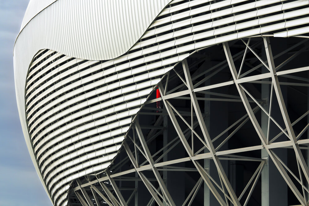 Close up to the metal construction of the stadium
