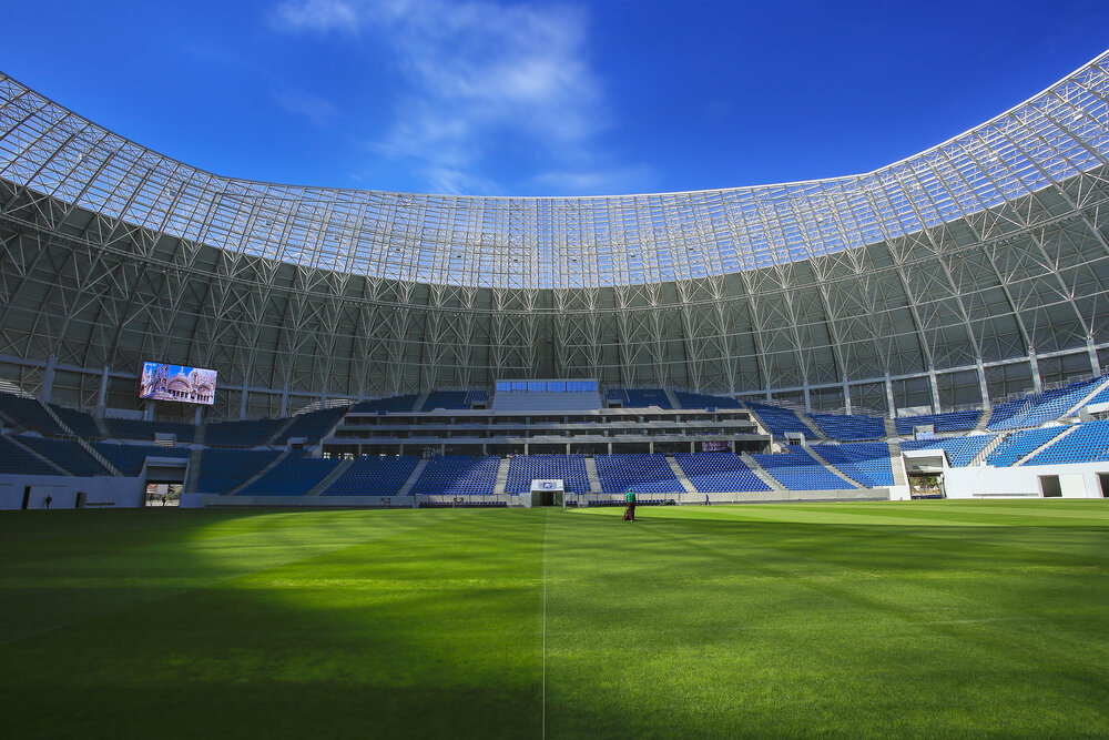 Grass and stadium stands with screen above