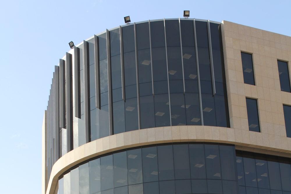 Glass façade of the building