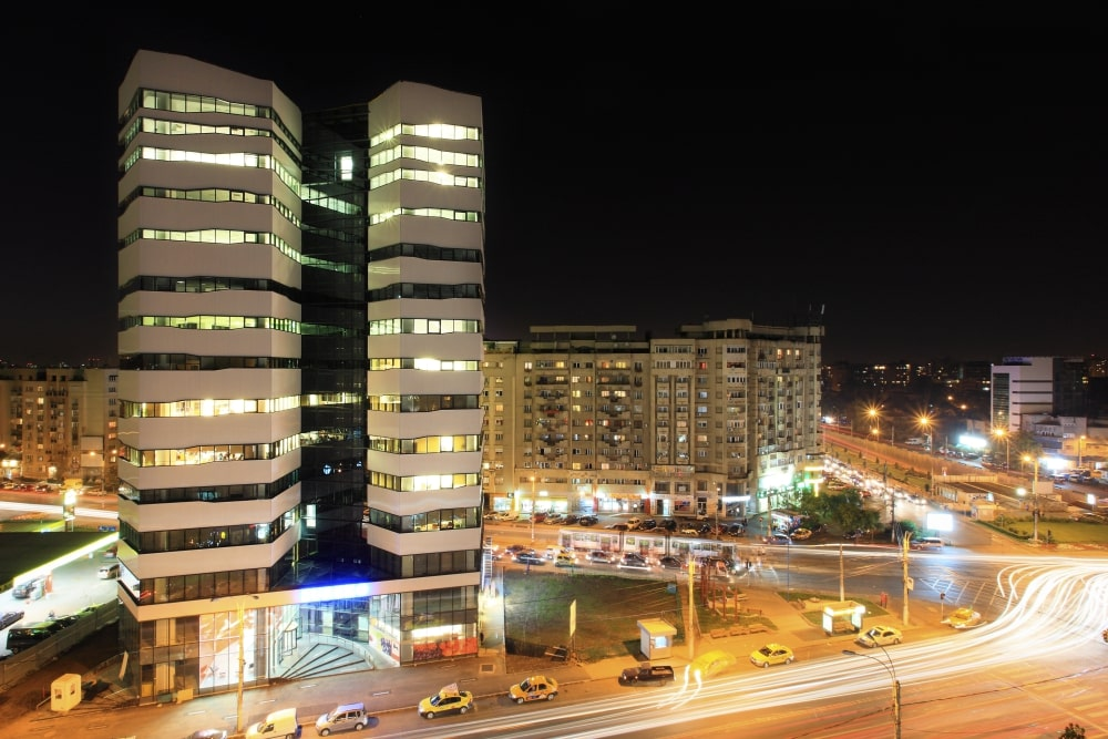 The building and the street at night