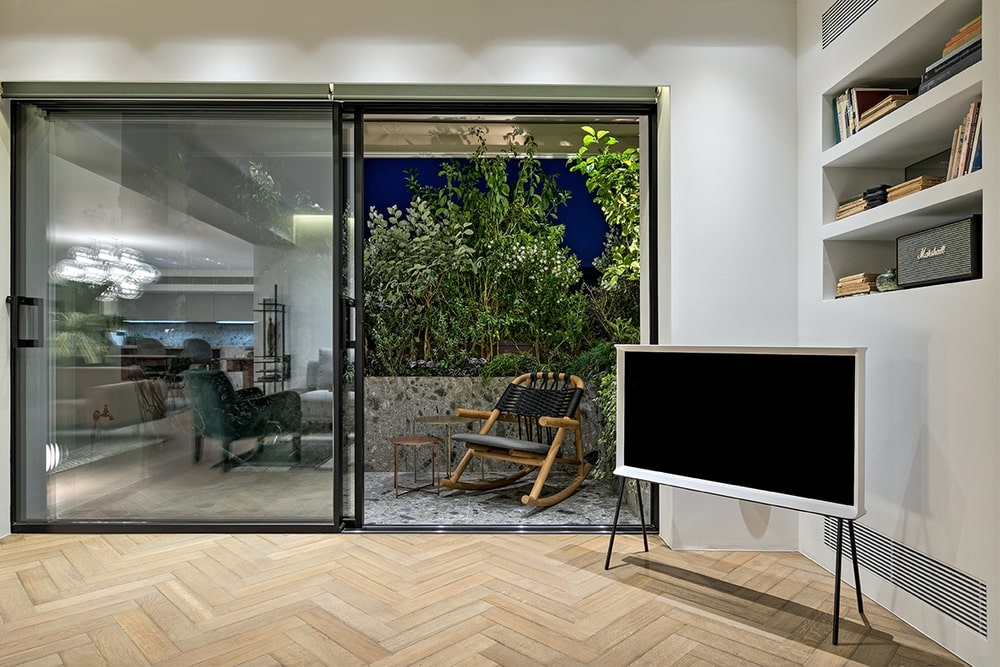 Open window with tv in front