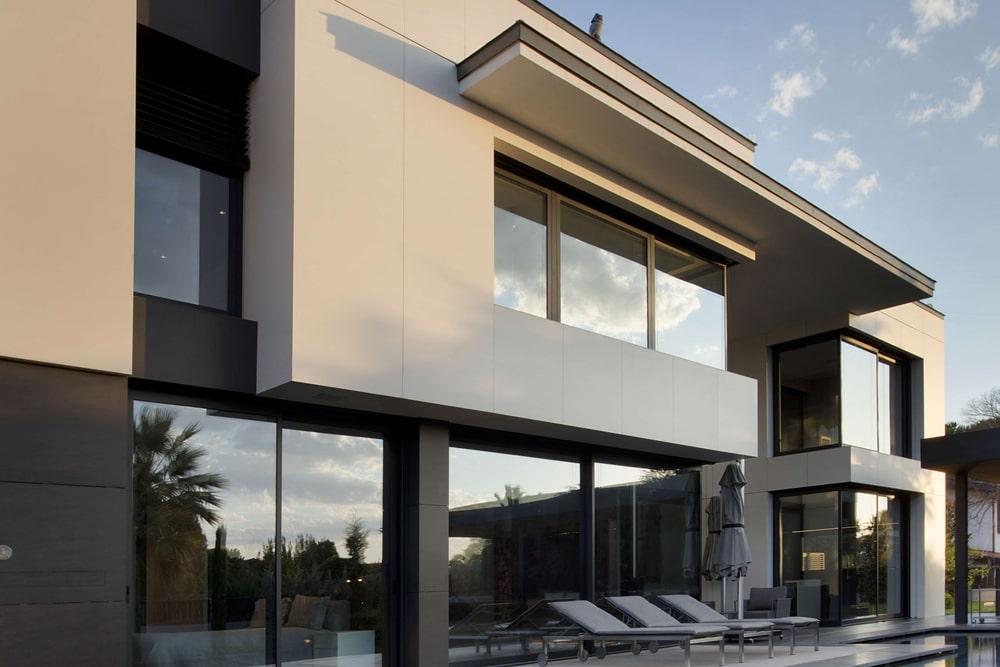 Aluminum windows on both storeys of the house