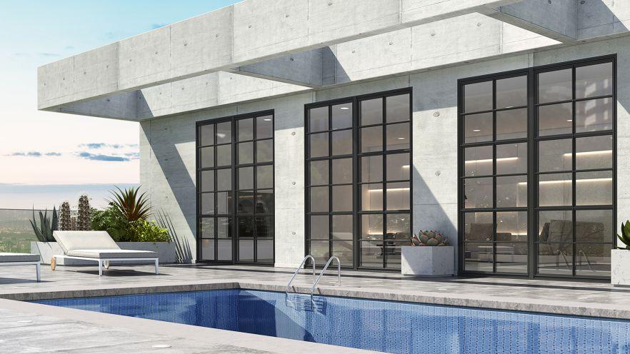 urban balcony with pool
