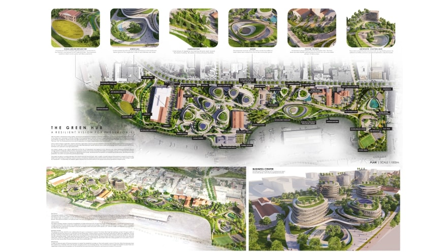 First plate of the second prize of ArXellence 2: The Green hub – A resilient vision for Thessaloniki, created by Angeliki Tzifa and Sophia Nikolaidou