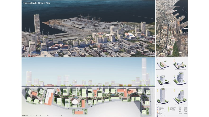 First plate of the third prize of ArXellence 2: Thessaloniki Green Pier, created by Mircea Mogan and Alexandra Virlan
