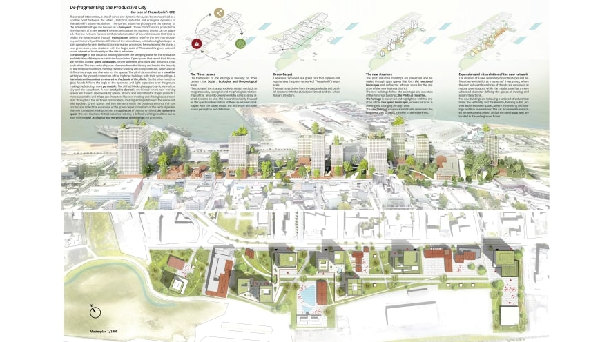 First plate of the fifth prize of ArXellence 2: De – fragmenting the Productive City _ the case of Thessaloniki's CBD, created by Maria Chrysoula Akrivou and Antonis Athanasiou